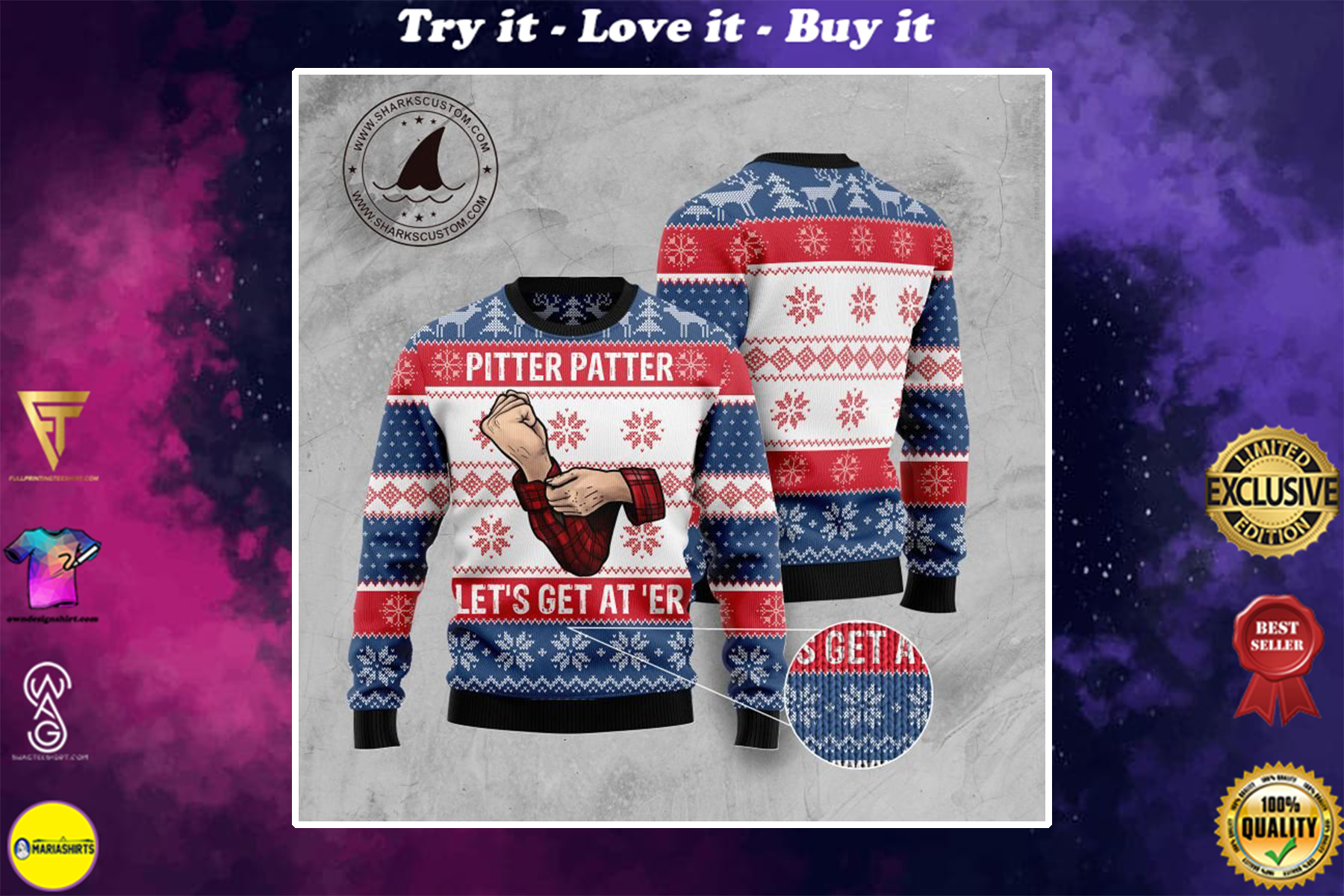 [special edition] pitter patter lets get at er all over printed ugly christmas sweater - maria