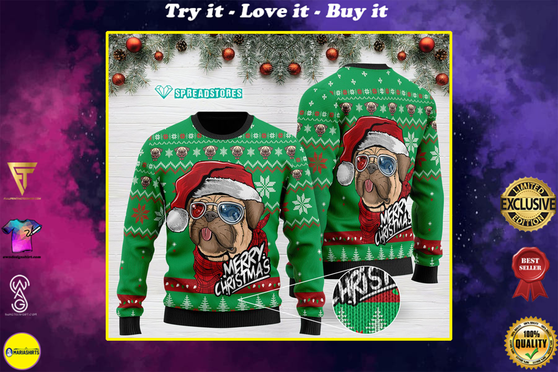 [special edition] pug merry christmas all over printed ugly christmas sweater - maria