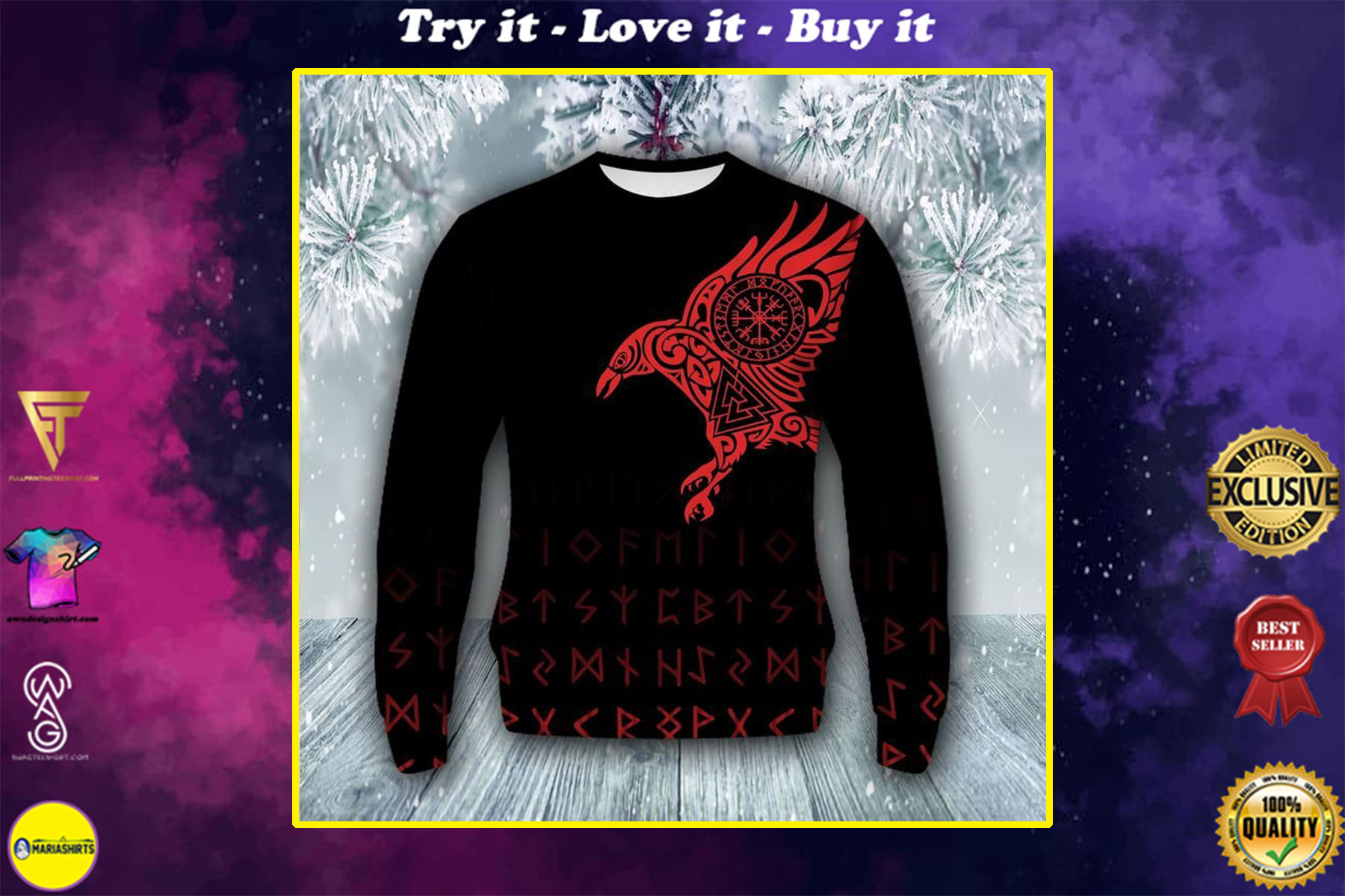 [special edition] raven viking all over printed ugly christmas sweater - maria