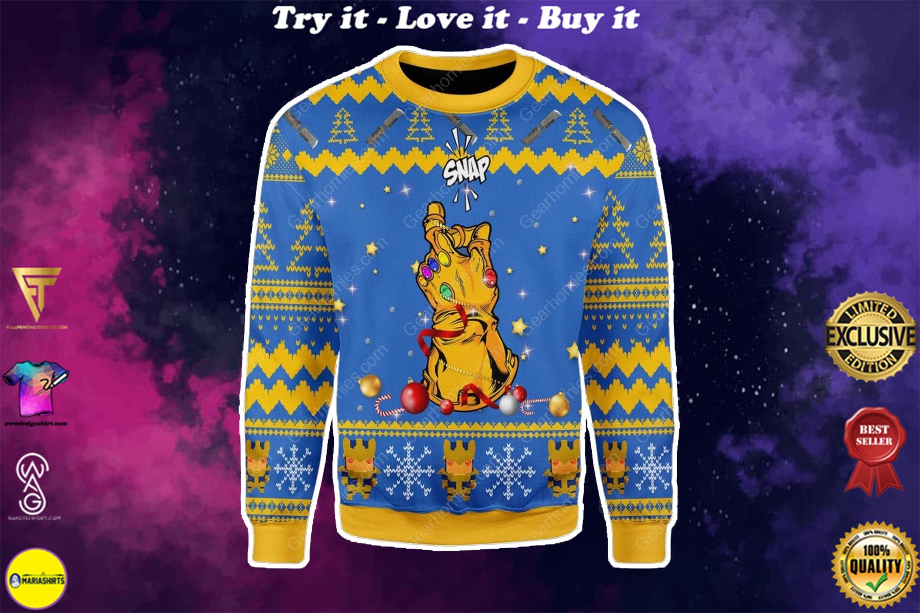 [special edition] thanos snap all over printed ugly christmas sweater - maria