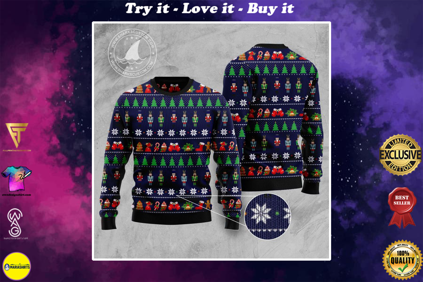 [special edition] the nutcracker all over printed ugly christmas sweater - maria