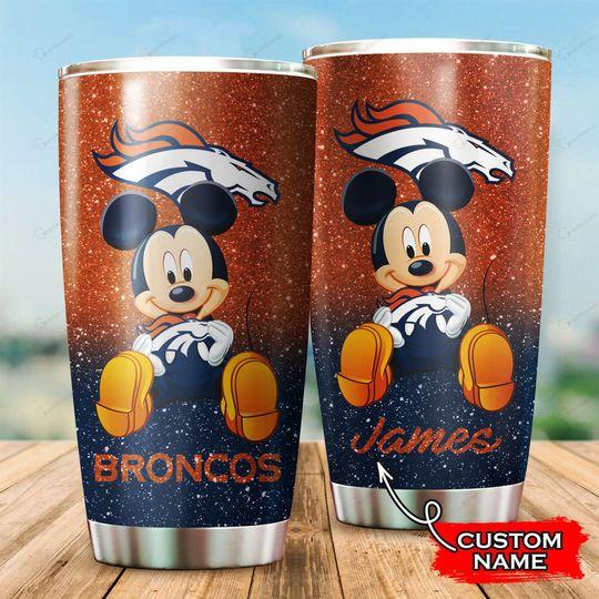 Denver Broncos Mickey Mouse Custom Name Tumbler