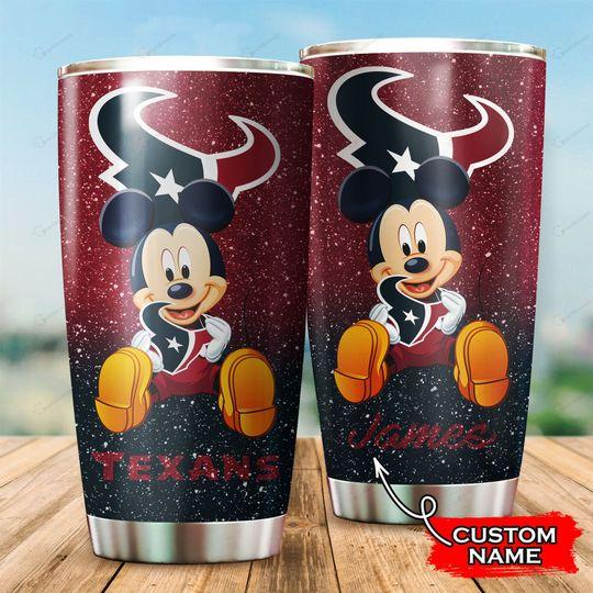 Houston Texans Mickey Mouse Custom Name Tumbler
