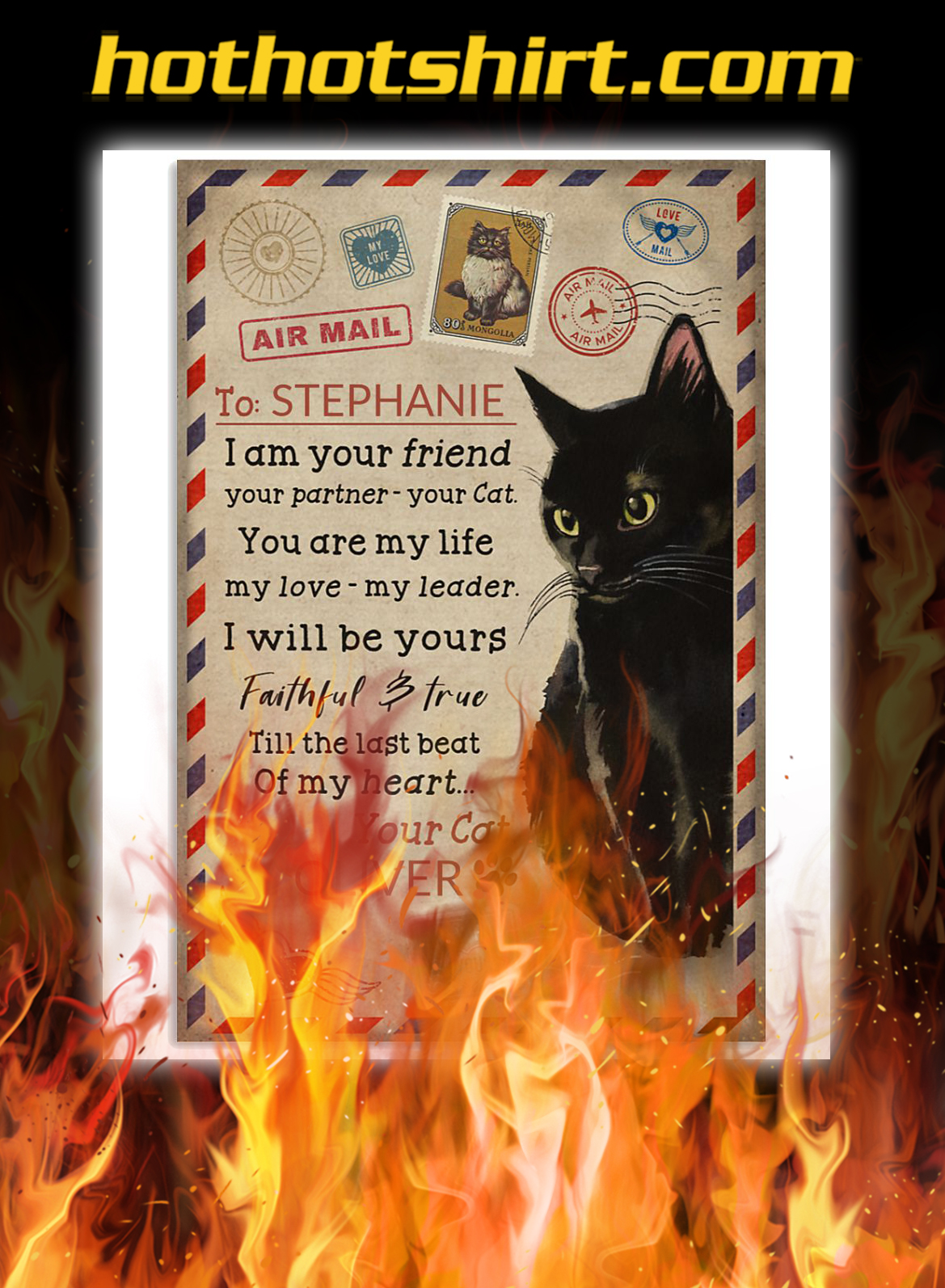 Personalized custom name black cat I am your poster