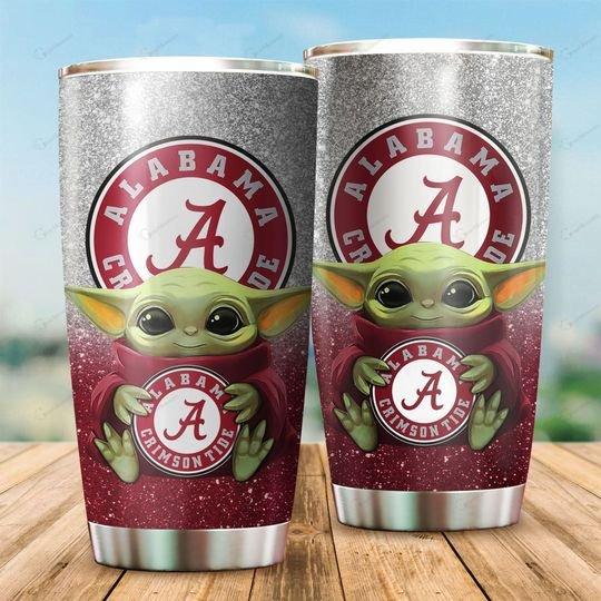 Alabama Crimson Tide Baby Yoda Tumbler
