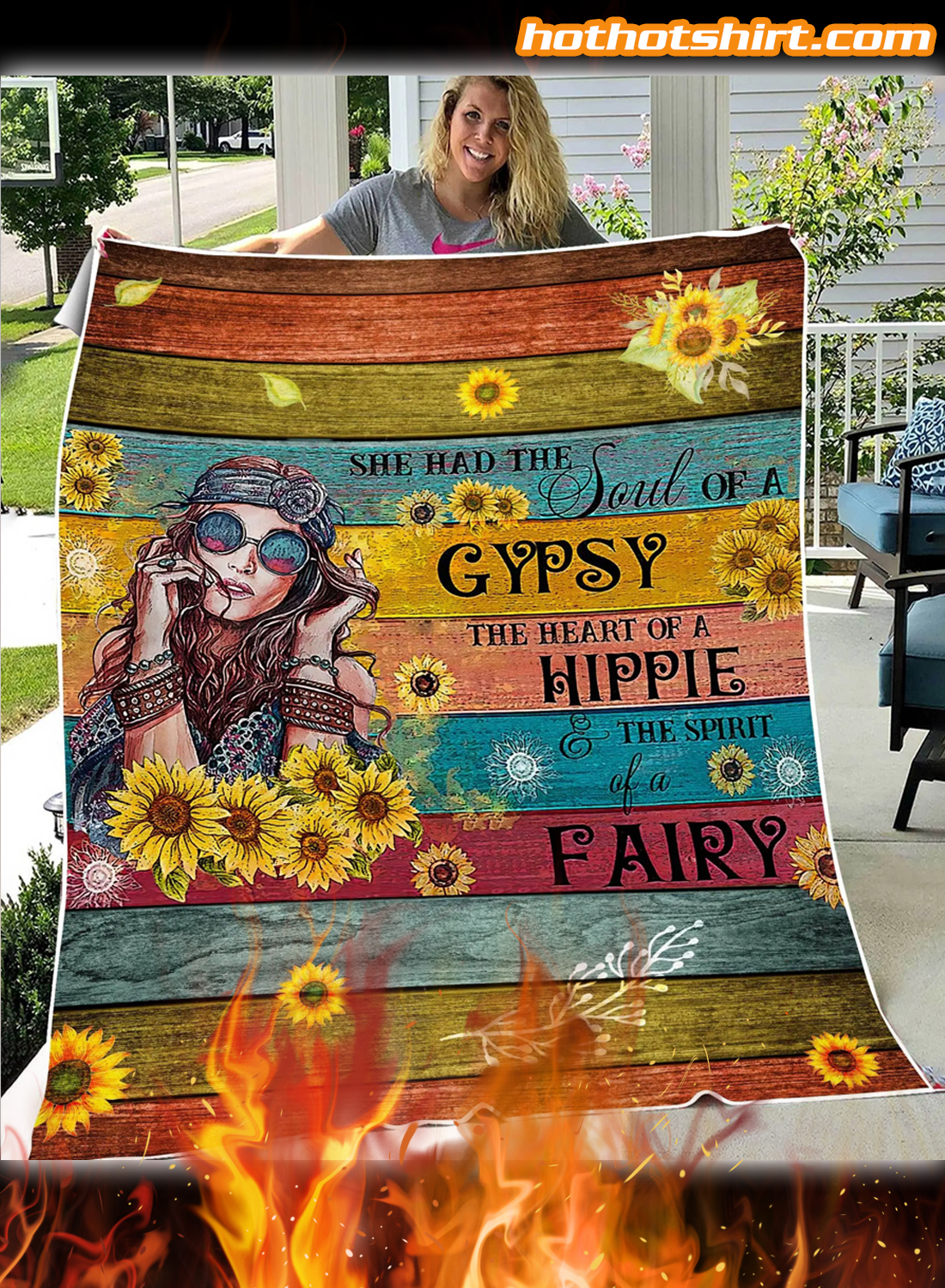 Hippie She Had The Soul Quilt Blanket