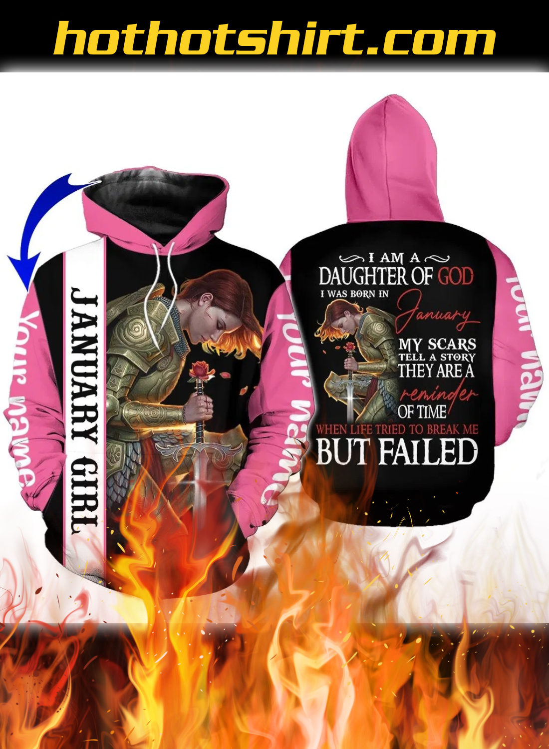 Personalized Name I Am A Daughter Of God I Was Born In January 3D All Over Printed Clothes