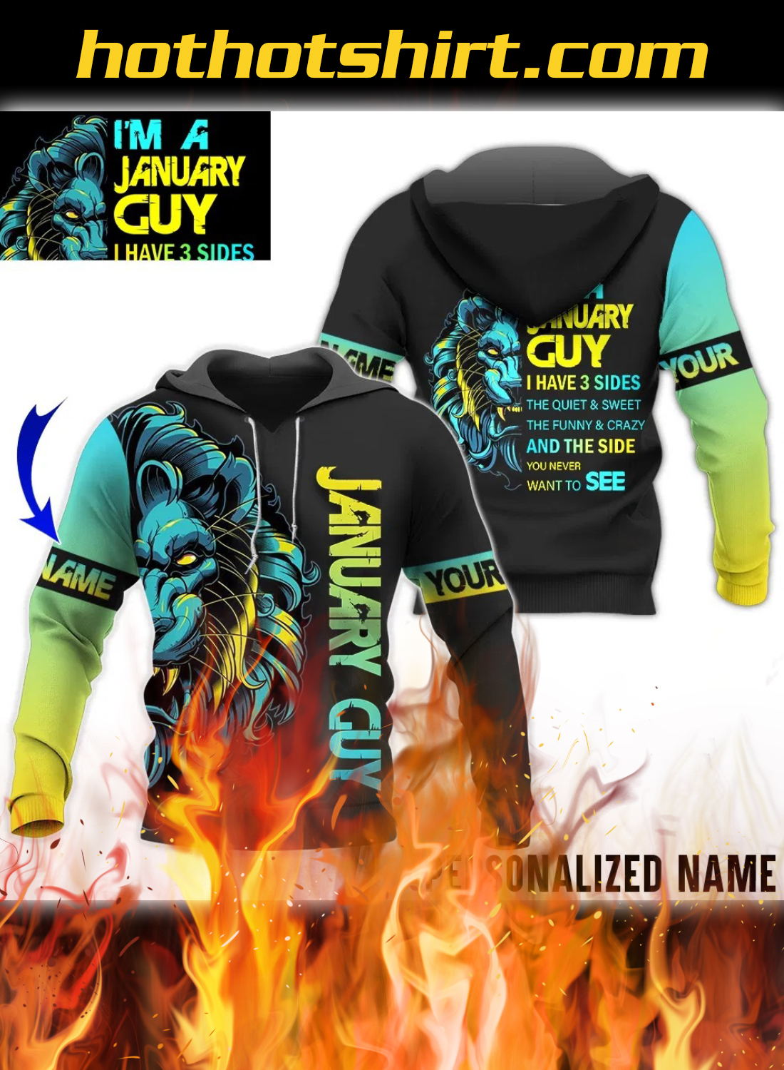 Personalized Name Lion I Am January Guy I Have 3 Sides 3D Hoodie