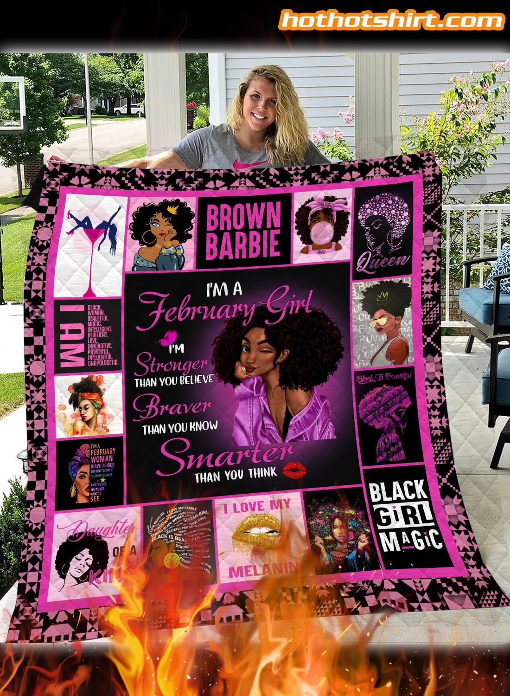 I Am February Girl Quilt Blanket