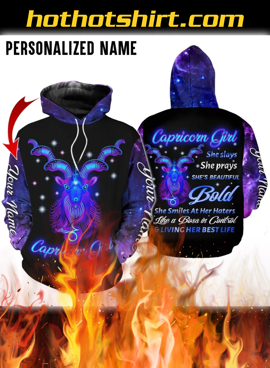 Personalized Name Capricorn Girl 3D All Over Printed Hoodie