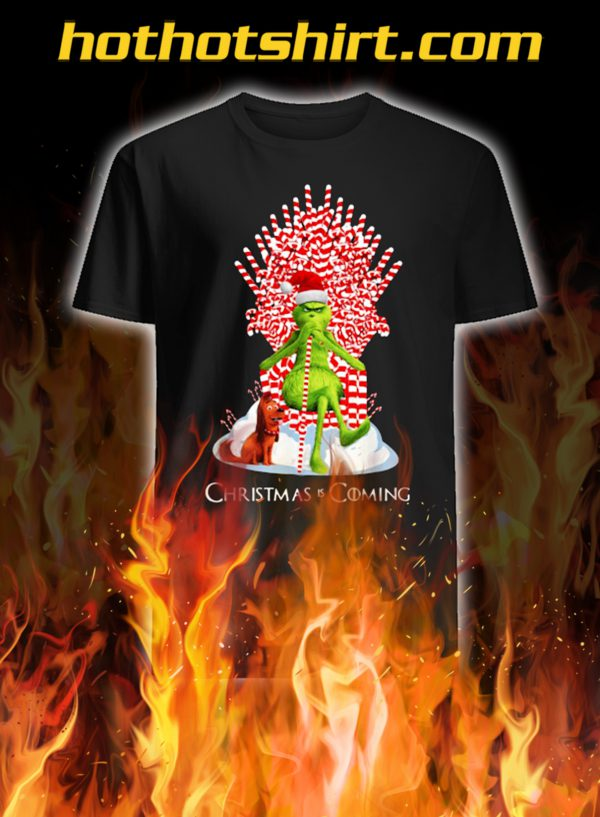 Grinch Christmas Is Coming Candy Cane Throne Christmas Shirt