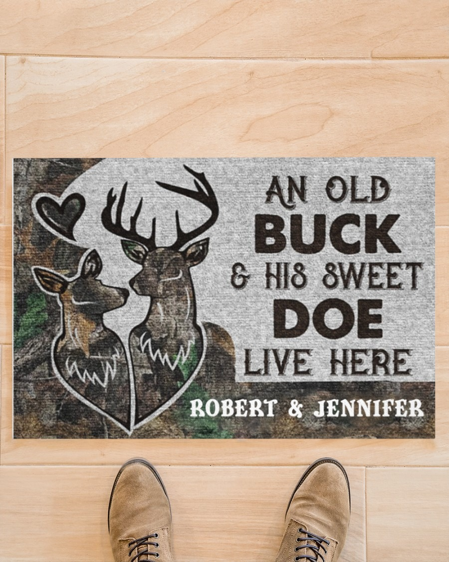 An old buck and his sweet doe live here custom personalized name doormat - LIMITED EDITION BBS
