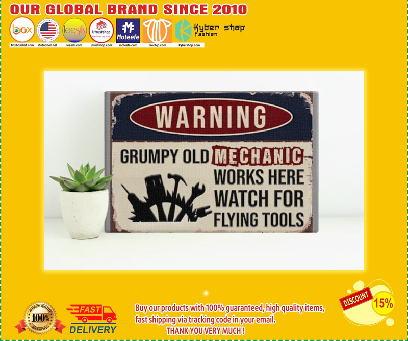 Auto mechanic warning grumpy old mechanic works here watch for flying tools poster - LIMITED EDITION BBS