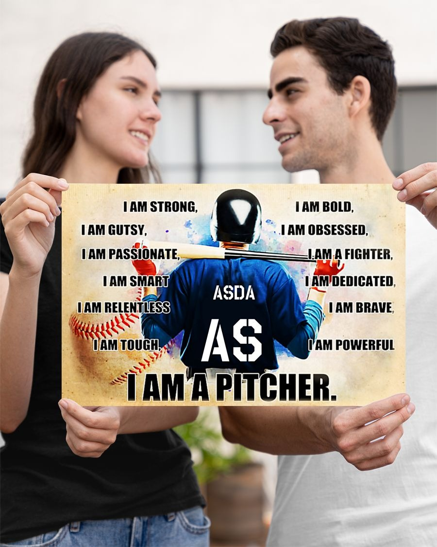 Baseball I am pitcher custom name and number poster - LIMITED EDITION BBS