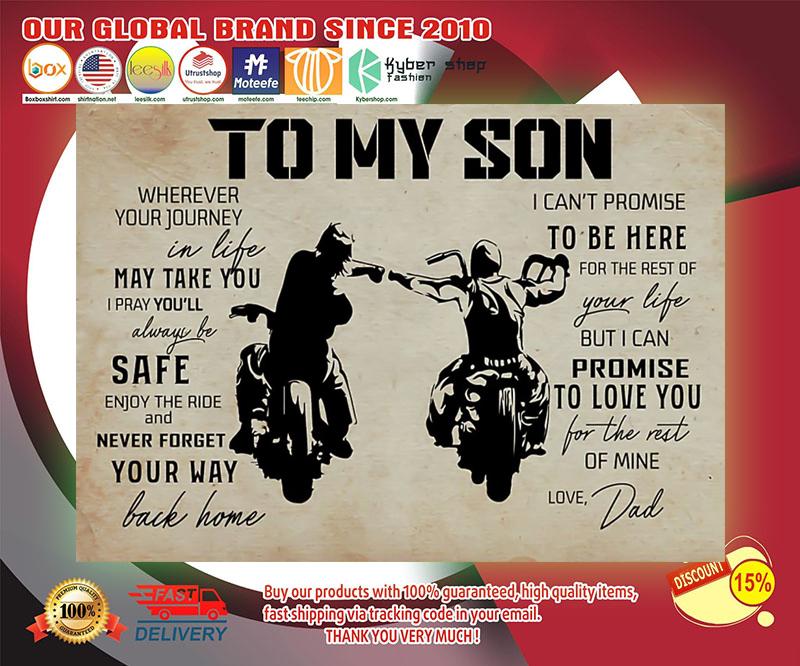 Biker dad to my son poster