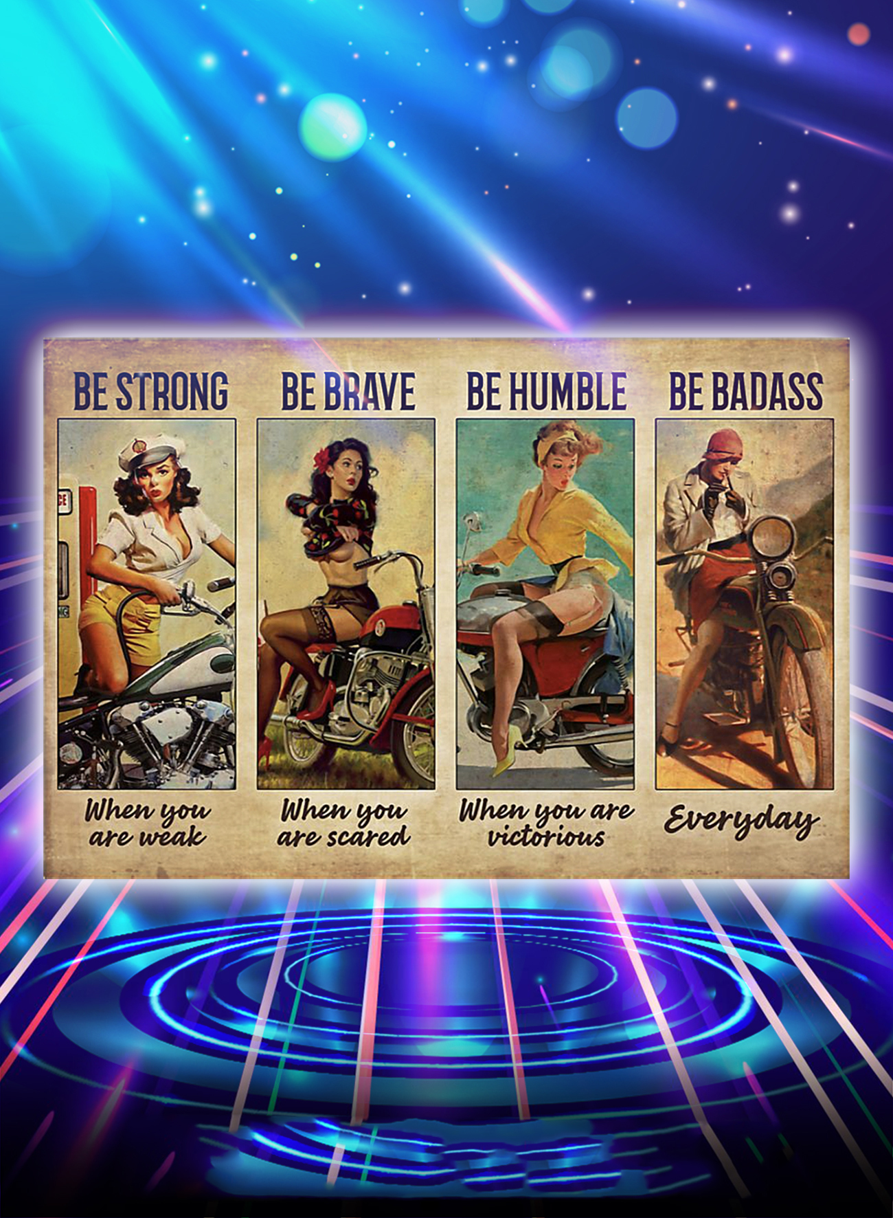 Biker girl be strong be brave be humble be badass poster - A1