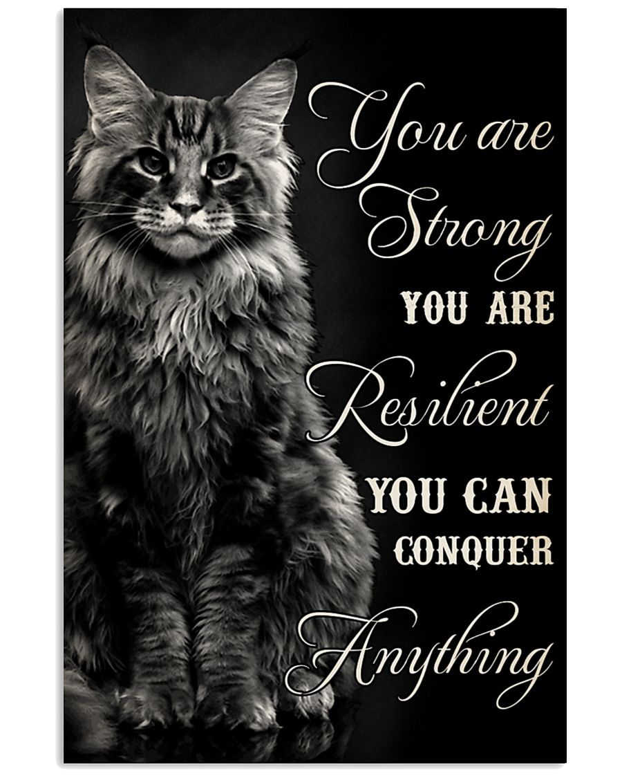 Black cat you are strong you are resilient poster
