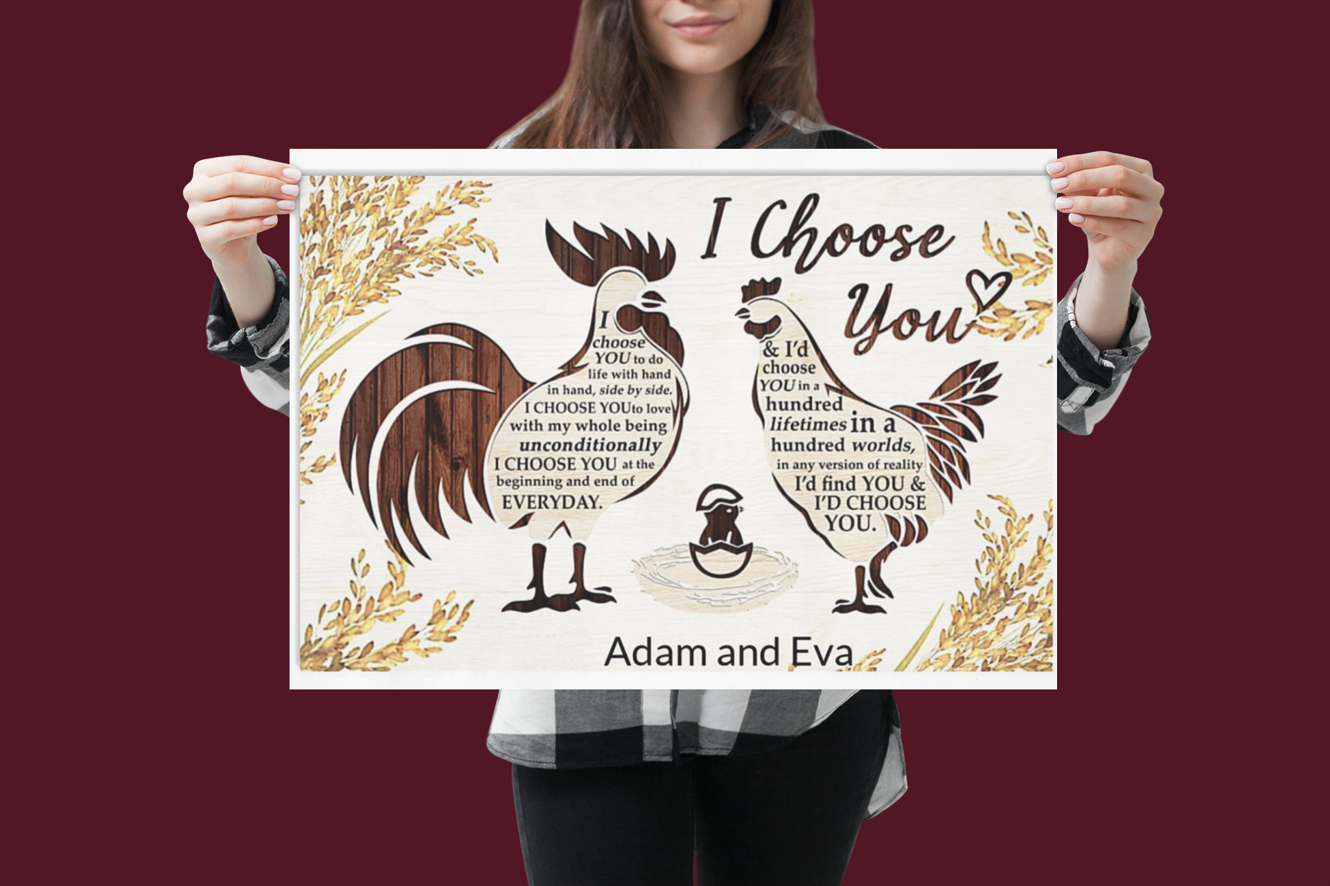 Chicken I choose you custom personalized name poster