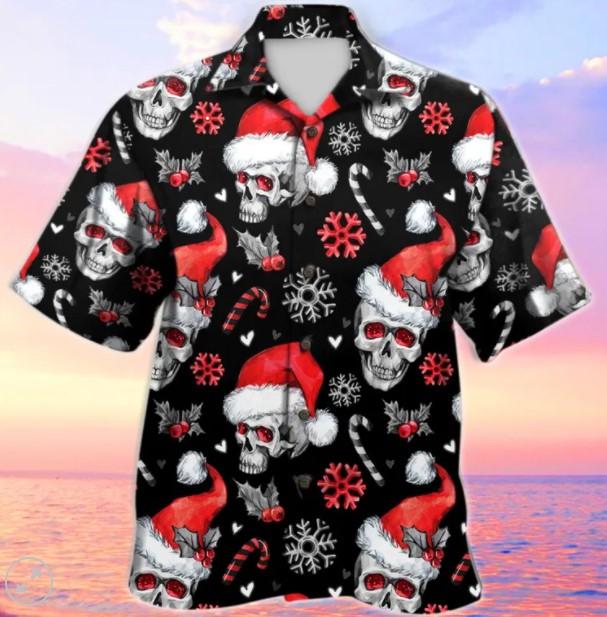 Christmas skull Santa Claus hawaiian
