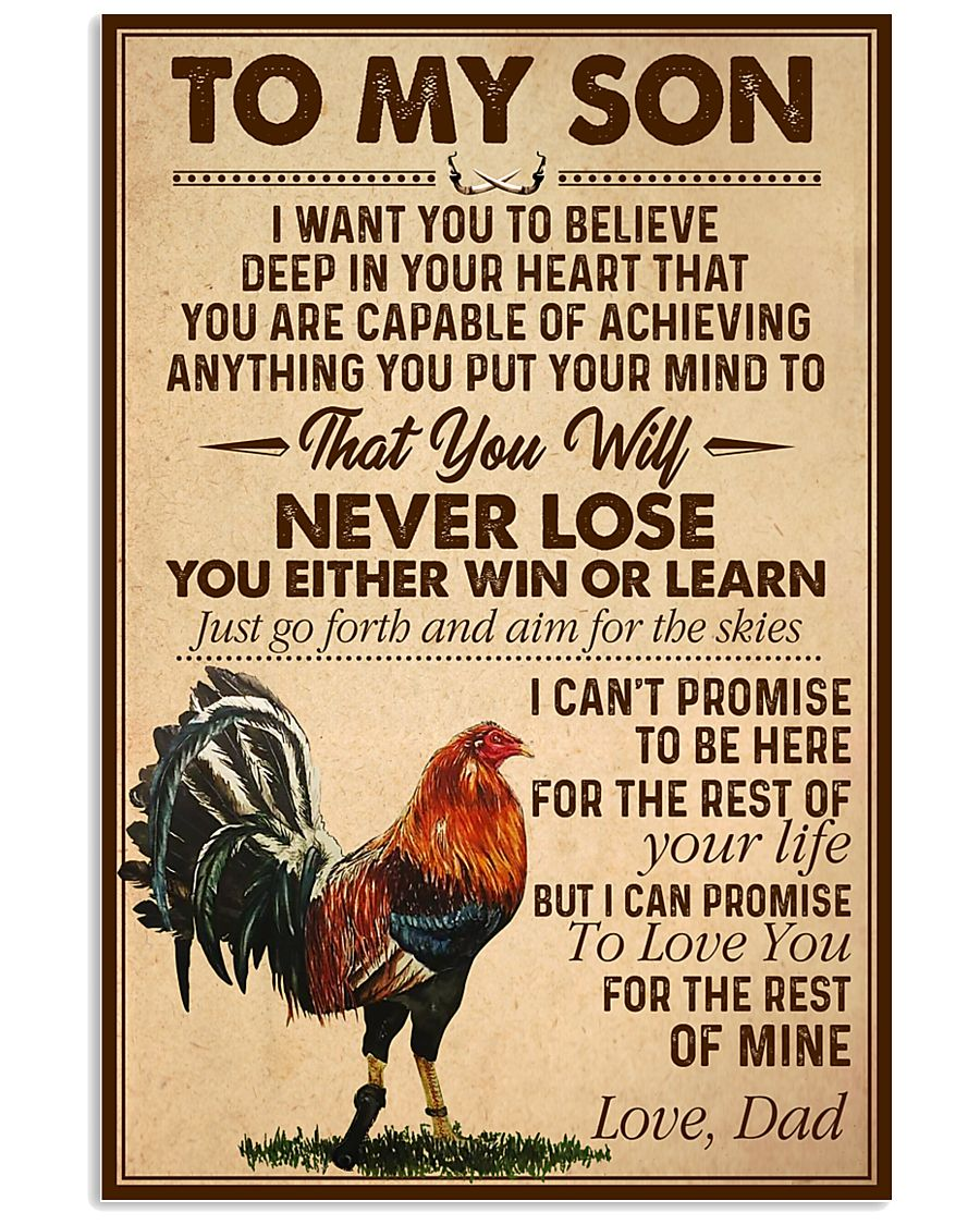 Cock to my son never lose you either win or learn poster
