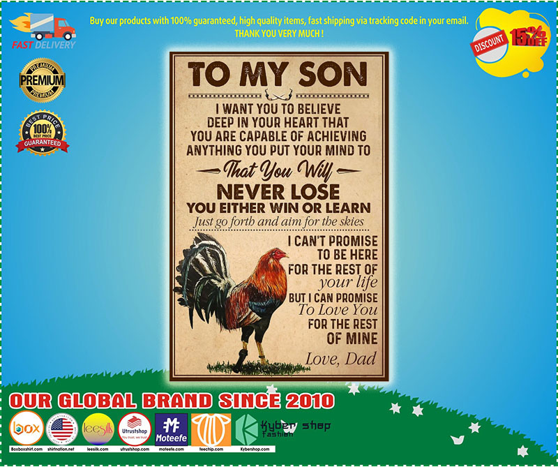 Cock to my son never lose you either win or learn poster – LIMITED EDITION
