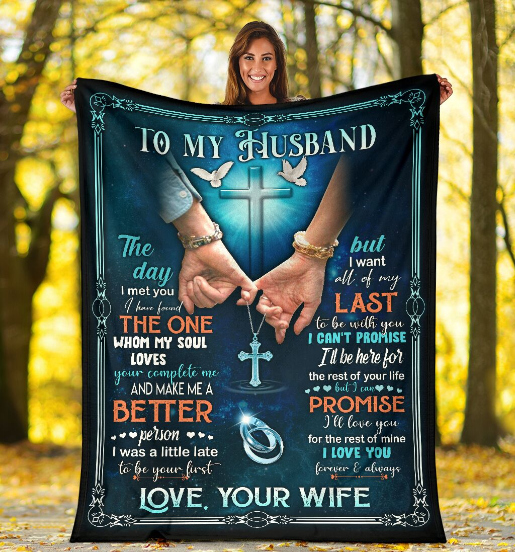 Cross to my husband love your wife blanket
