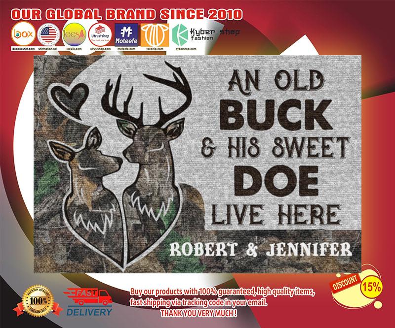 Deer an old buck and his sweet doe live here doormat