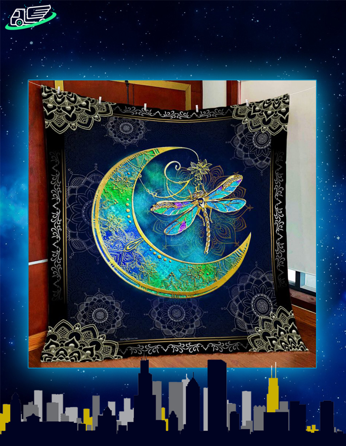 Dragonfly moon quilt blanket