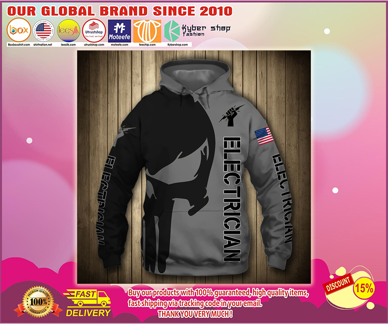 Electrican punisher skull US flag 3d hoodie - LIMITED EDITION BBS