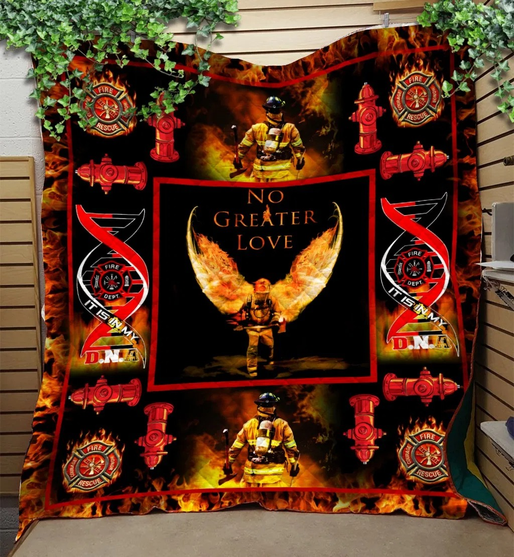 Firefighter No Greater Love Quilt Blanket 1