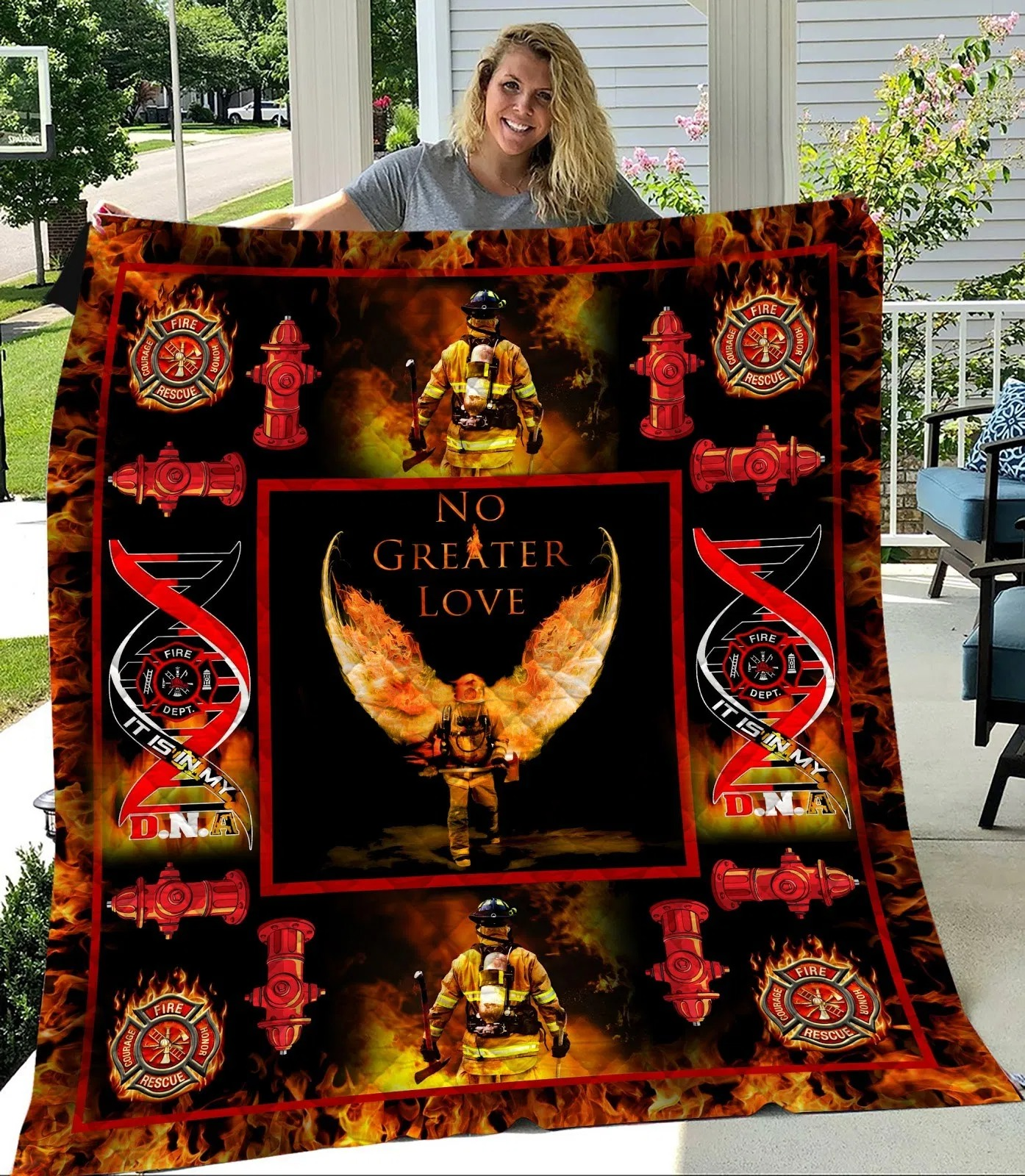 Firefighter No Greater Love Quilt Blanket