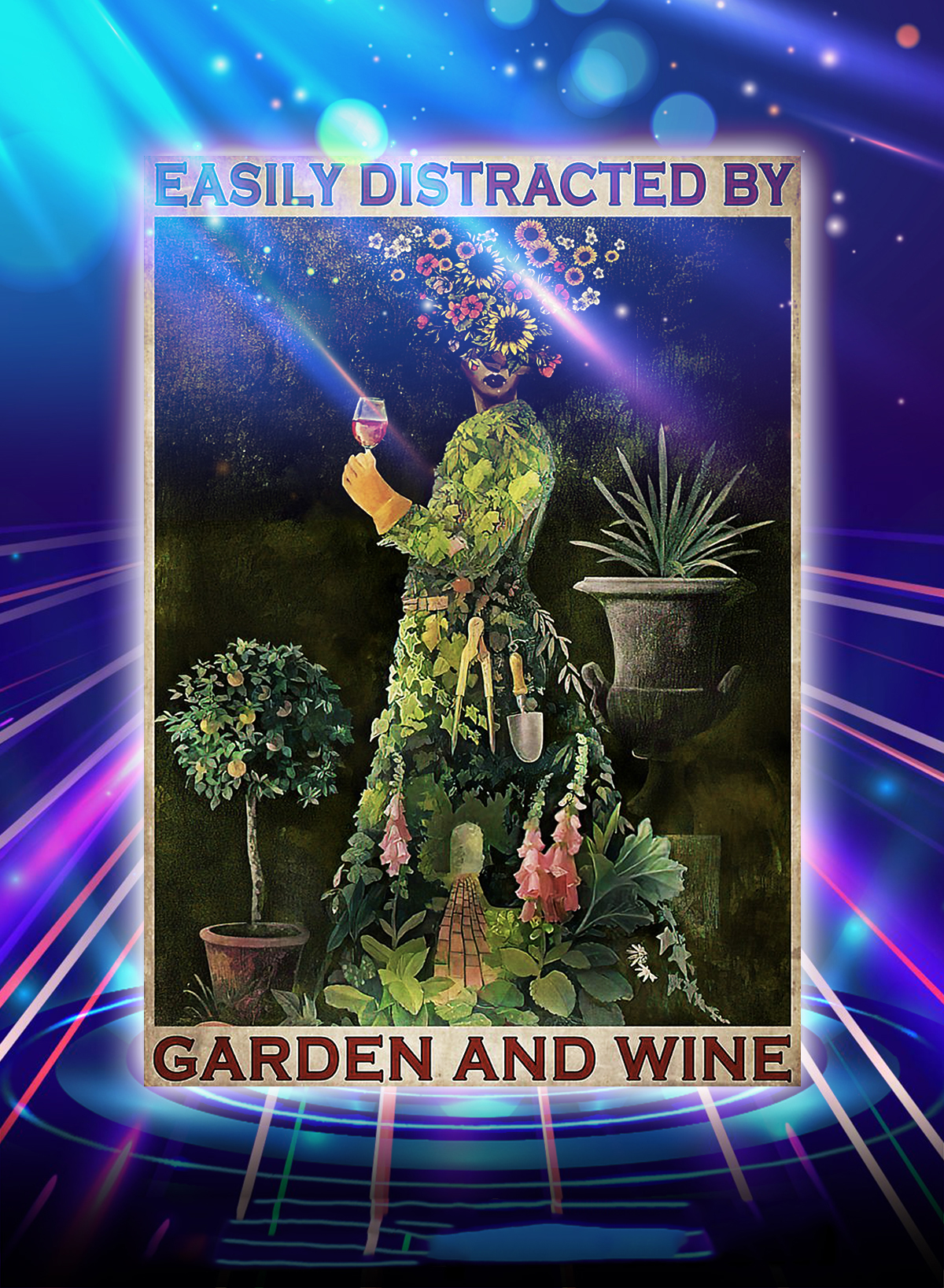 Flower girl easily distracted by garden and wine poster