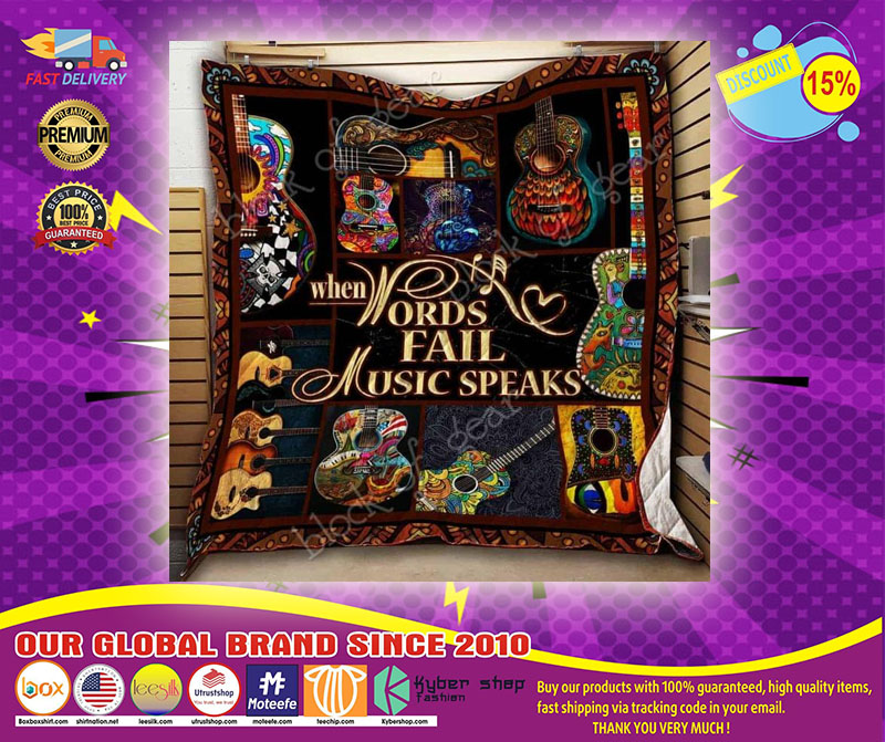 Guitar When words fail music speaks quilt  - LIMITED EDITION