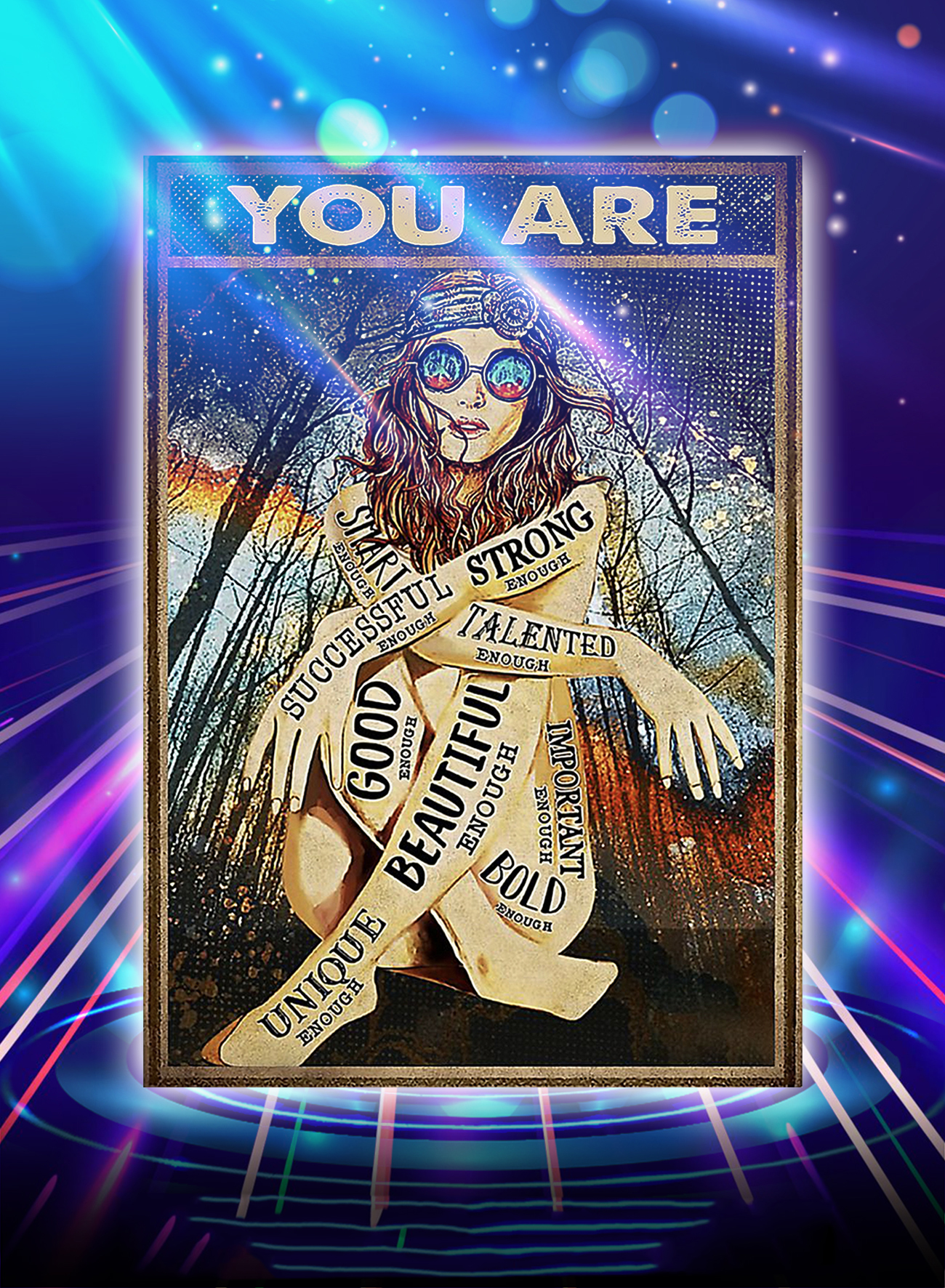Hippie girl glasses you are strong good beautiful poster - A4
