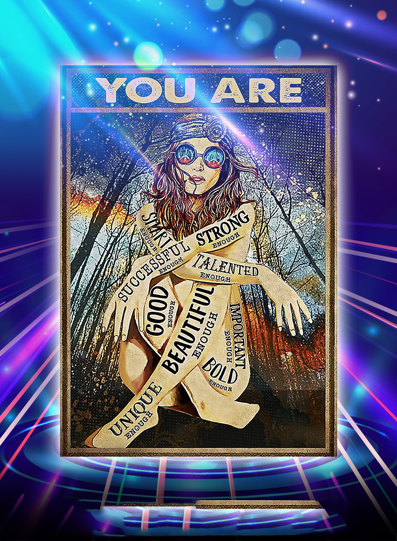 Hippie girl glasses you are strong good beautiful poster
