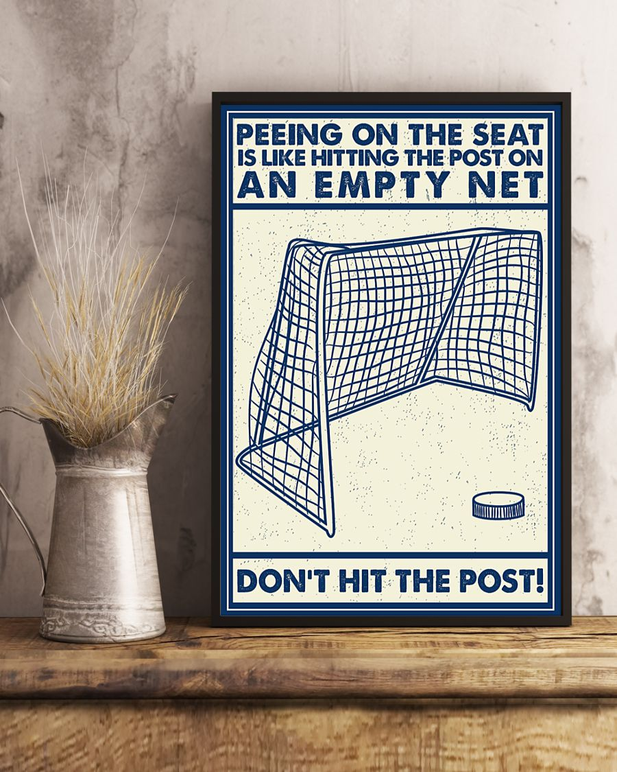 Hockey don't hit the poster peeing on the seat poster