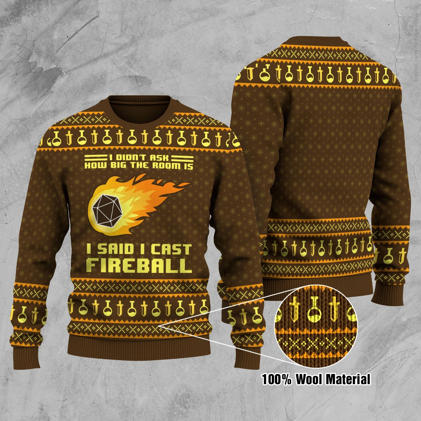 I didn't ask how big the room is i said i cast fireball ugly christmas sweater and jumper