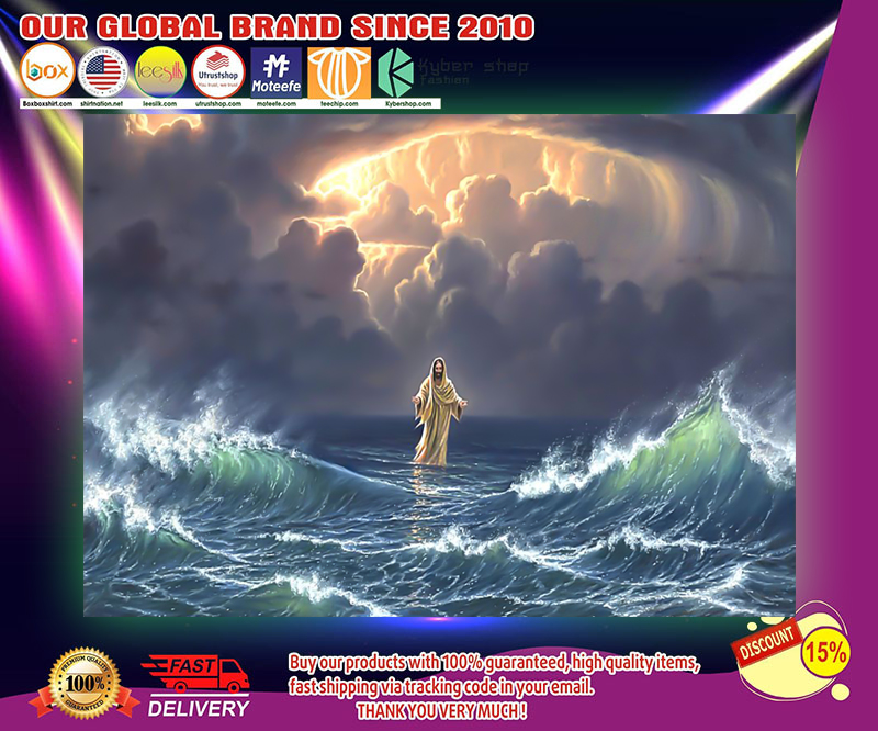 In the storm Jesus walked on the water poster