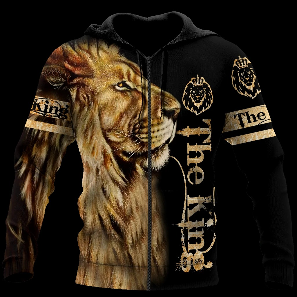 King lion 3d all over printed unisex hoodie and shirt 1