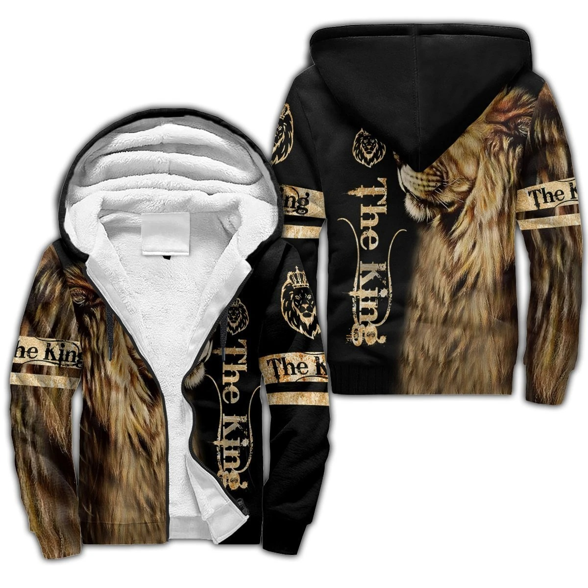 King lion 3d all over printed unisex hoodie and shirt 4