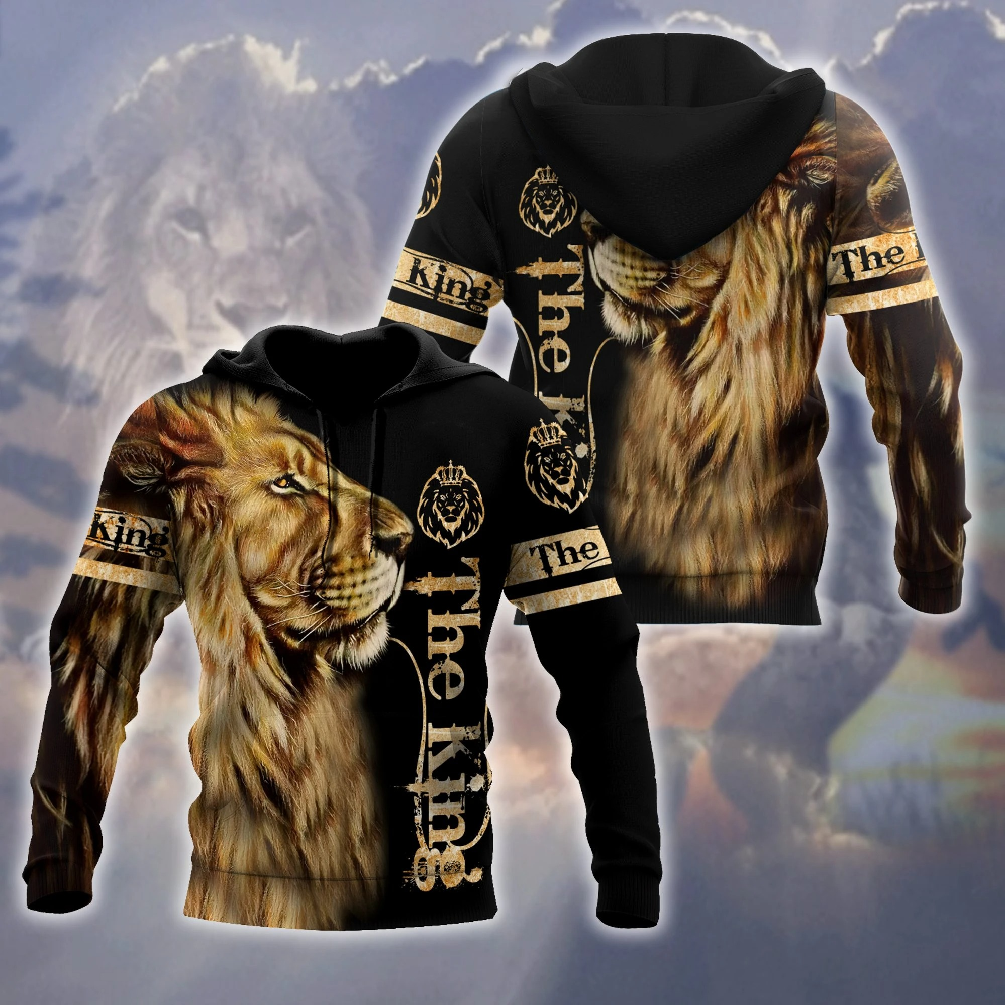 King lion 3d all over printed unisex hoodie and shirt - ad