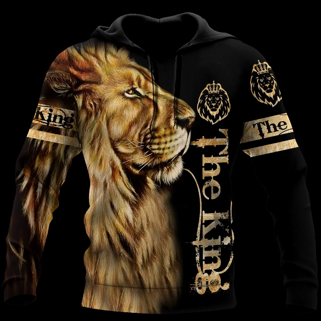 King lion 3d all over printed unisex hoodie and shirt