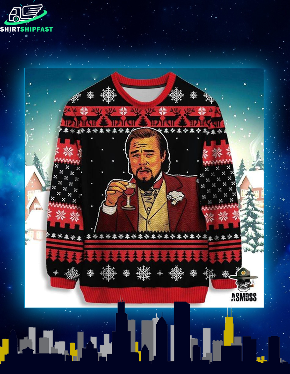Leonardo DiCaprio ugly christmas sweater