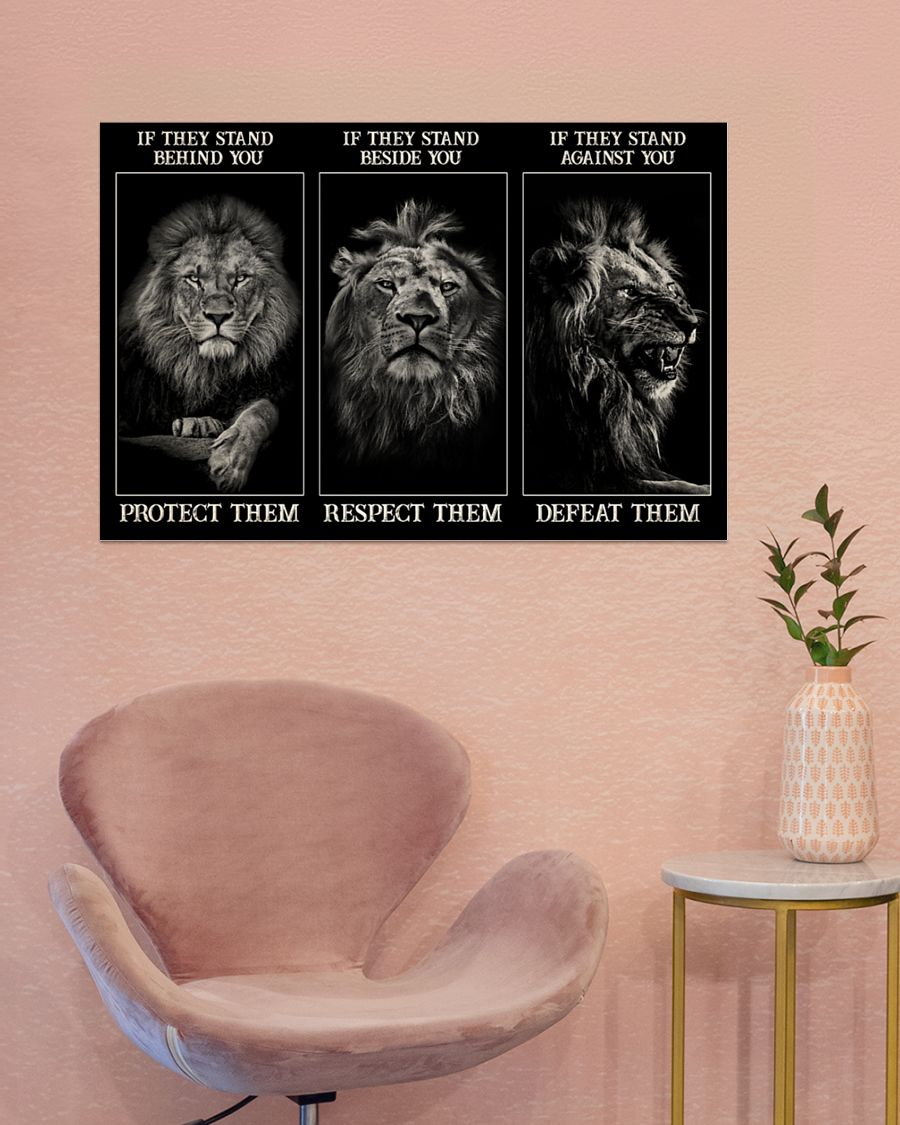 Lion If they stand behind you protect them if they stand beside you respect them poster – LIMITED EDITION