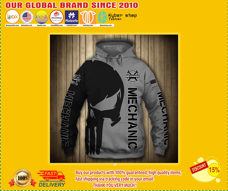 Mechanic punisher skull US flag 3d hoodie - LIMITED EDITION BBS