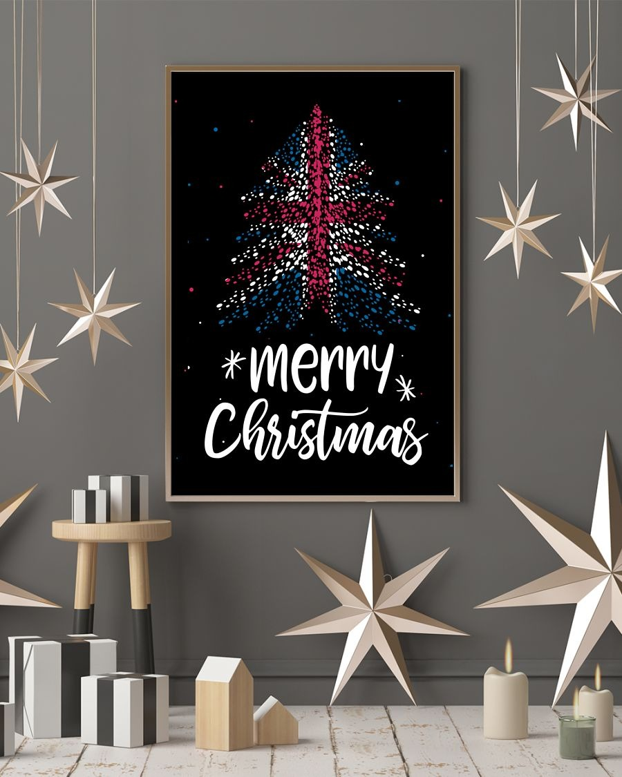 Merry christmas British flag tree poster - LIMITED EDITION BBS