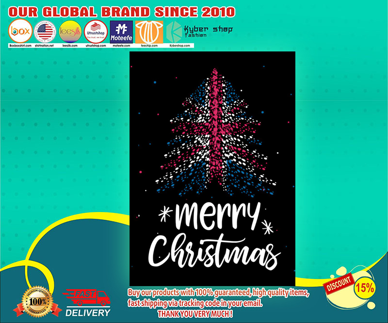 Merry christmas british flag tree poster