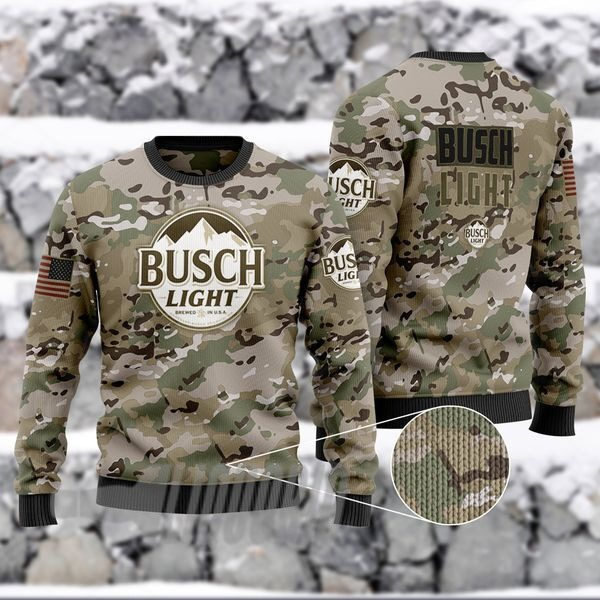Military camouflage Busch Light Beer Ugly Christmas Sweater