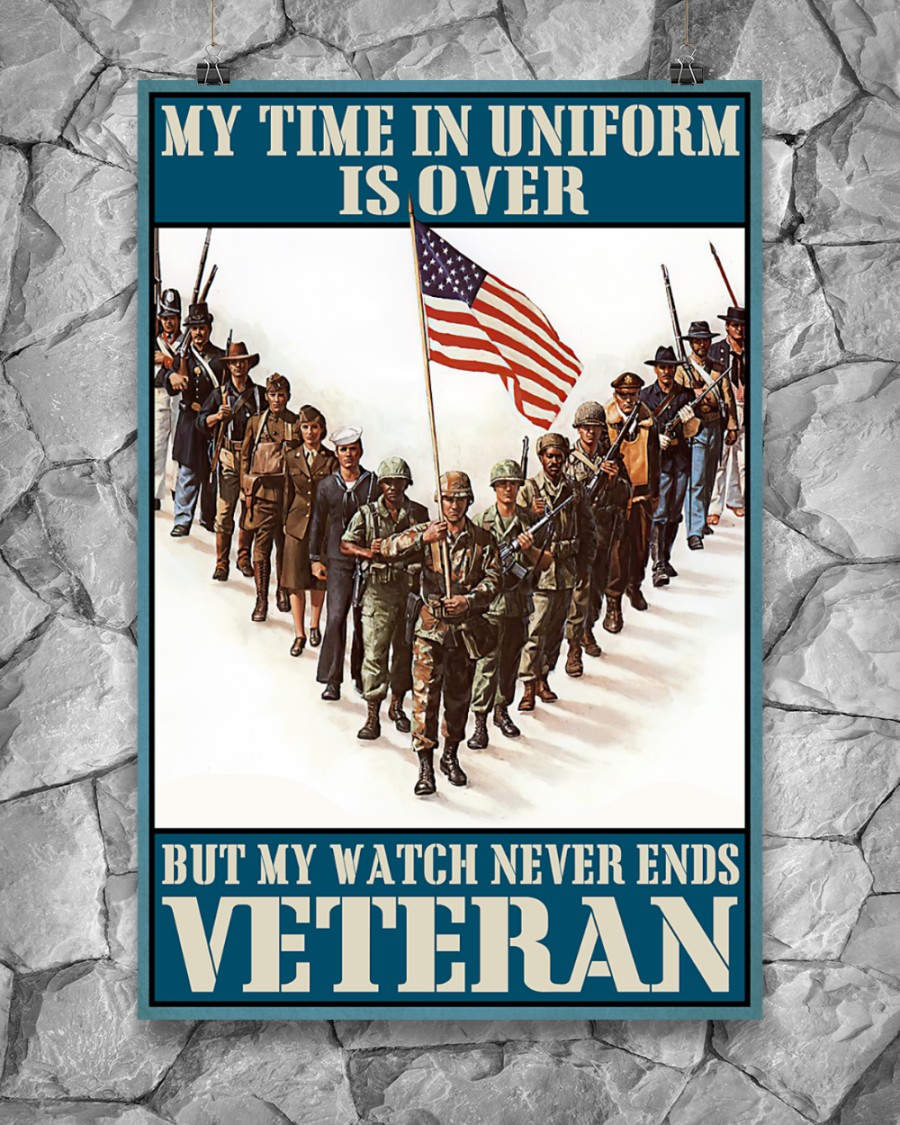My time in uniform is over but my watch never end Veteran poster – LIMITED EDITION
