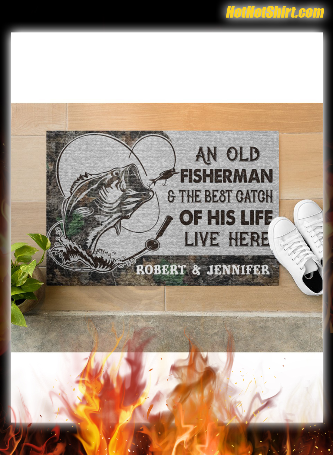 Personalized Name An Old Fisherman And The Best Catch Of His Life Here Doormat